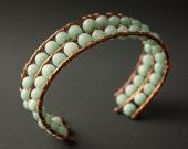 Blue Peking Onyx and Copper Cuff Bracelet