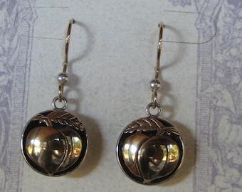 Gold and Silver .. Shadow Box   Peach earrings  ..........................                  e330