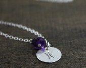 Zodiac Stamped Necklace - Sterling Silver - February Pisces