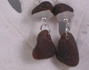 Sterling Silver Sea Glass Earrings Sea Glass Jewelry E-34