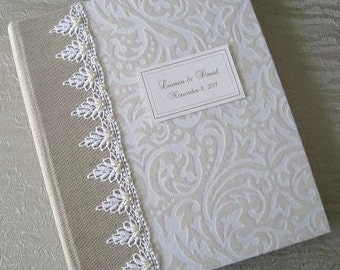 White and Ivory Flocked Wedding Photo Album with Beaded Lace, Personalized Photo Album, 8x10