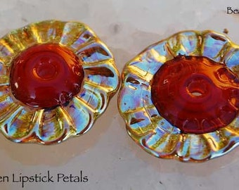 7 Golden Lipstick Petals, handmade silver glass beads,  red with gold by Beadfairy Lampwork, SRA