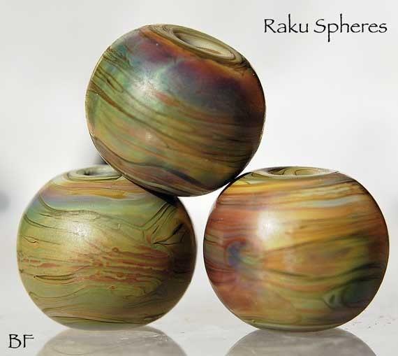 7 Raku Spheres Lampwork Beads Earthy handmade glass beads , organic beads by Beadfairy Lampwork
