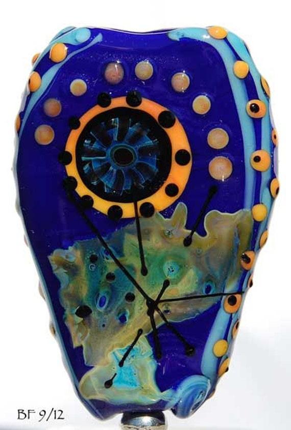 SALE Lampwork focal bead in dark blue with apricot dots and murrini , handmade beads by Beadfairy Lampwork, Ooak, SRA