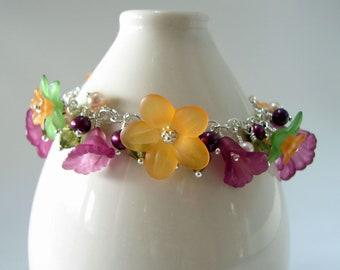 Lucite Flower Bracelet Sterling Silver - Orange, Plum and Green