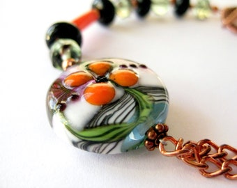 Half chain bracelet, Copper with artisan lampwork glas beads, orange black and green
