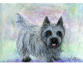 Cairn Terrier dog 8x10 print - she was keen for walk - she was always keen for a walk - blue brindle Cairn - grey brindle Susan Alison
