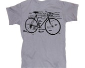 Mens  BICYCLE  T shirt - diagram S M L XL xxL (silver gray)