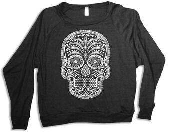 Womens SUGAR SKULL Tri-Blend Pullover  sweatshirt - american apparel S M L (heather black)