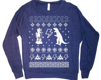 Womens Geek Ugly  Christmas Sweater Print Long Sleeve Sweatshirt Pullover (American Apparel Navy)