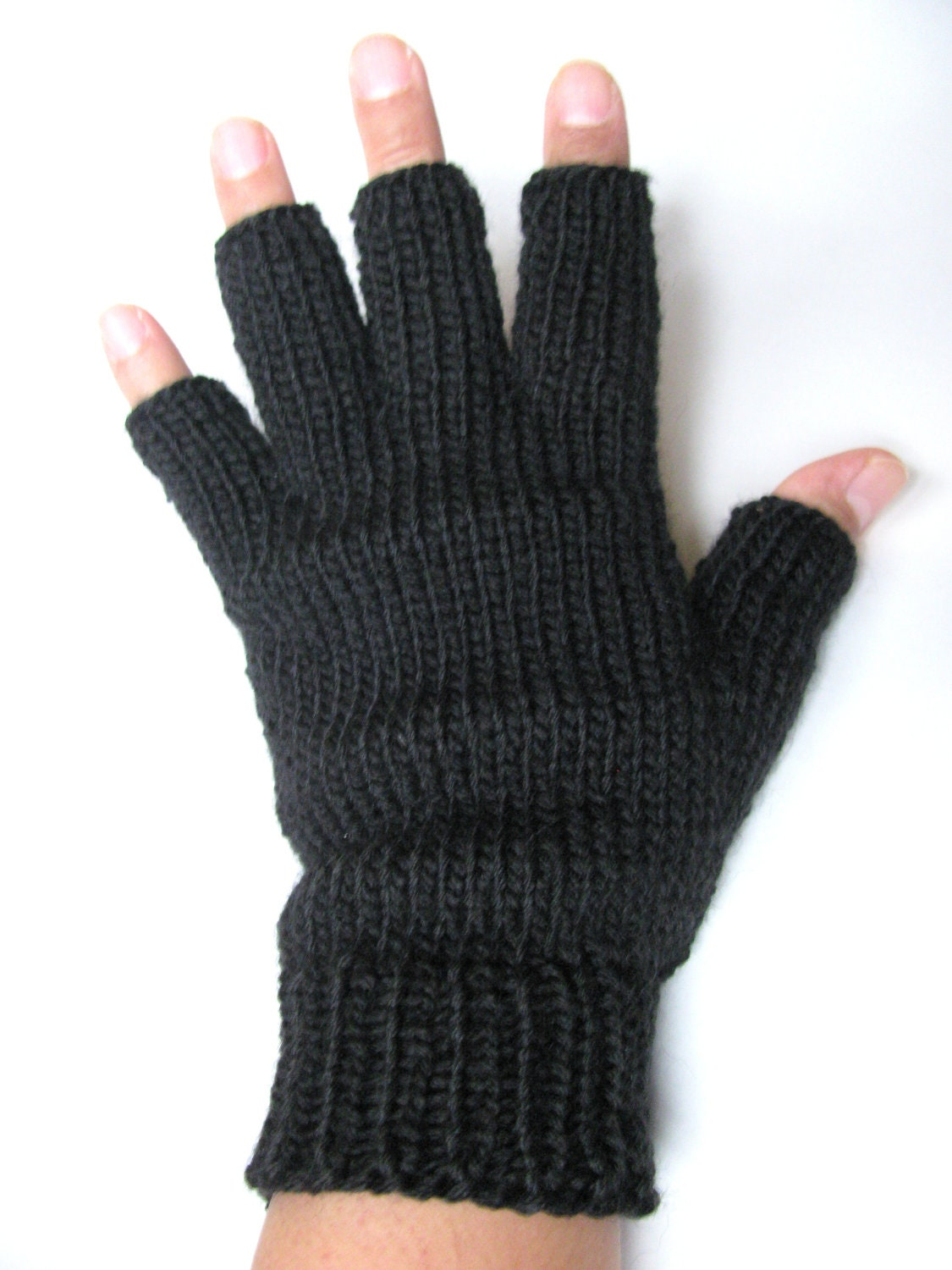 Mens Solid Fingerless Gloves Mens Texting by BugEatersKnits