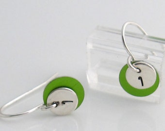 Initial earrings with color