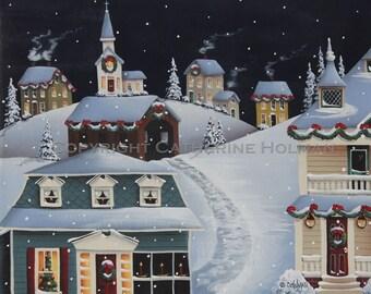 Folk Art Christmas Print Tinsel Town Christmas