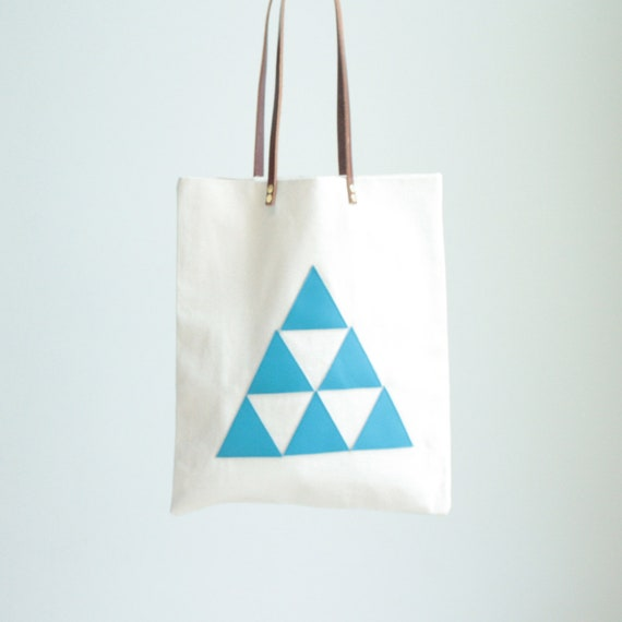 Tote bag - leather triangles