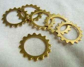 Sprockets Open Gear or Cog Charms Brass Stamp Blanks 16mm 6 Pcs
