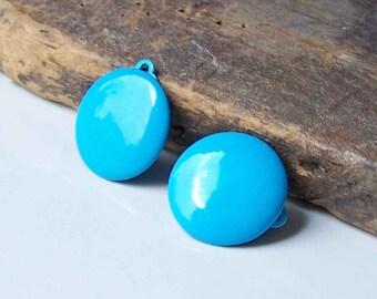 REDUCED Bright Blue Enamel, Enamel Dot Earrings, Clip On Earrings, 80s Earrings, 1980s Earrings, Vintage Enamel Earrings