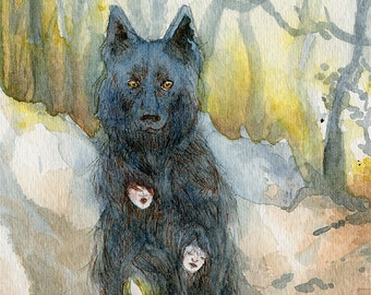 ACEO ghost dog autumn fantasy art print - The Hairy Dog