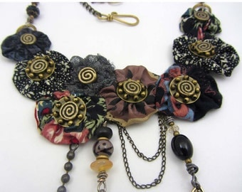 Necklace, hand made fabric and brass necklace