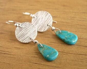 Turquoise Silver Earrings Sterling Silver Earrings Woodgrain Texture OOAK Earrings Handmade Charms Recycled Silver Modern Western Jewelry