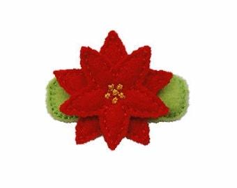 Felt Poinsetta Christmas Clippie - Toddler Clip - Holiday Clip