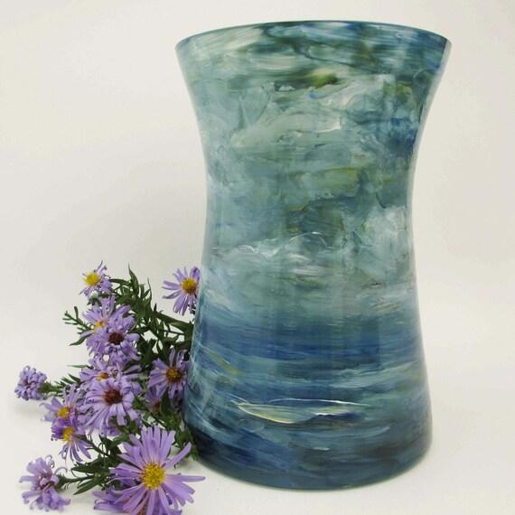 Sea and Sky- Impressionist Landscape Original Painted Glass Vase-Art Home Decor