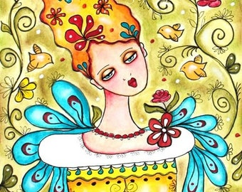 Birds and Girl Art Print, Whimsical Art Folk Art, Storybook Art, Garden, 8 x 10  or 5 x 6.5, Watercolor Mixed Media, Green