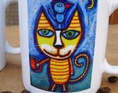 Yellow Cat Blue Bird  Coffee Mug You Can Only Buy 'em Here Tracey Ann Finley Art Original Design