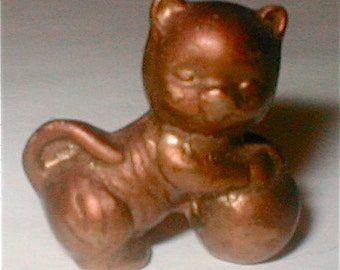 Tiny Brass Kitten with Ball Figurine - Vintage 70s Collectable Cat 1 Inch Tall