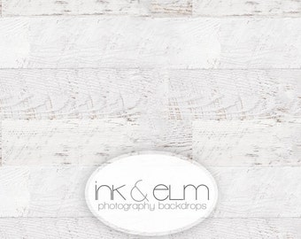 "Vinyl Photography Backdrop 3ft x 2ft, Photo Backdrop / Floordrop, Vintage White Wood Planks, White Wood Floor Backdrop, ""Celestially Aged"""