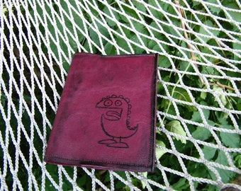 Small Leather Journal Book  with Monster Stamped on Burgandy Color Cover