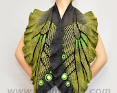 Felted Art scarf shawl made from Wool and hand dyed Silk nunofelting Green Olive Grey Butterfly Scarf