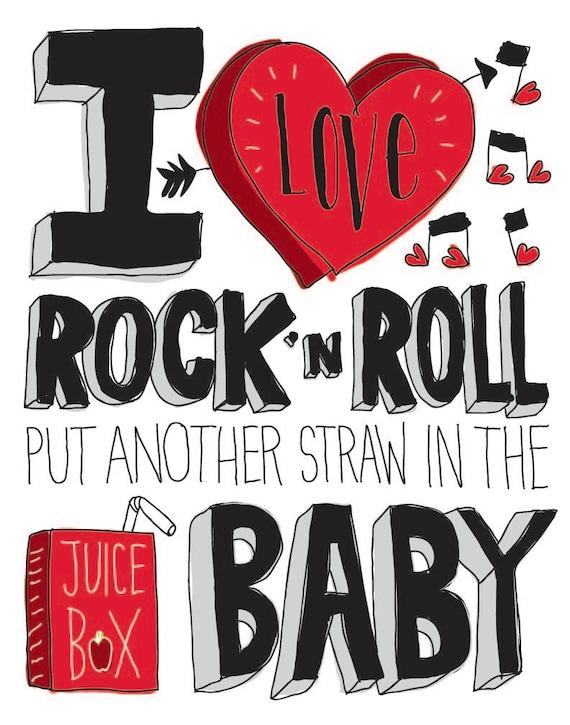 I Love Rock 'N Roll Hand drawn Type 11 x 14 Print Kids by ...