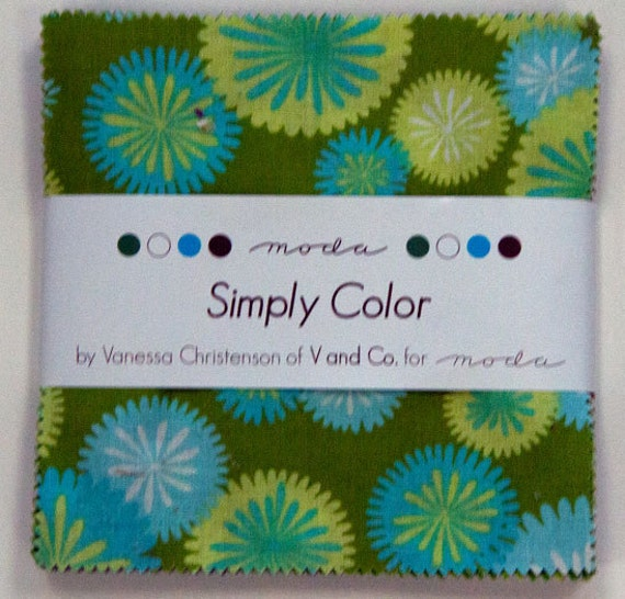 Moda Simply Color Charm Pack  by V and Co  Vanessa Christenson  - 42 Five Inch Squares, SALE