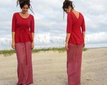 ORGANIC Flip Wrap Shirt ( light hemp and organic cotton knit ) - organic wrap shirt
