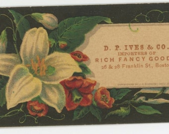 D P Ives Victorian trade card Boston MA fancy goods vintage antique lilly roses black ephemera