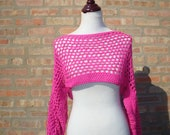 Fuschia Crochet Pullover Shrug