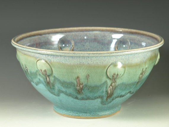 Ceramic Serving Bowl in turquoise - handmade stoneware pottery bowl