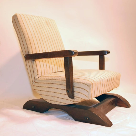 vintage salesman 39 s sample rocker upholstered chair striped. Black Bedroom Furniture Sets. Home Design Ideas