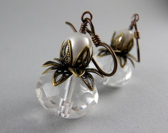 Beautiful Lotus and Pearl Flower Earrings with Free USA Shipping