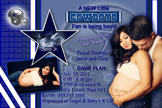 personalized dallas cowboys baby shower invitations or any team