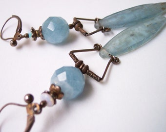 Sterling silver and aquamarine Goddess earrings with Australian opals and kyanite spears, dark patina or bright silver