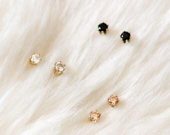 gold stud earring set - 14k gold filled studs, tiny gemstone studs, small everyday earrings, 3mm studs, double piercing earrings, bestseller