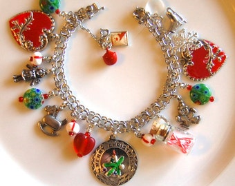SALE Vintage Sterling Silver Christmas Charm Bracelet W/Charms Ships FREE