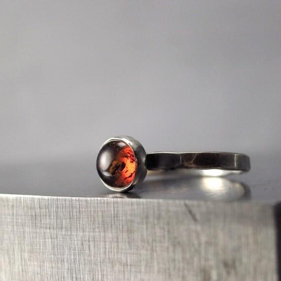Amber ring hammered Sterling Silver honey brown gemstone Stackable