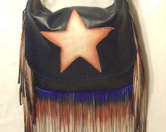 "Artisan Fringe Leather Handbag ""STAR SPANGLED BAG"" Hobo Bag Red White and Blue Purse Captain America Flag Bag Handmade by Debbie Leather"