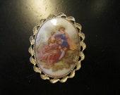 vintage ceramic pin brooch