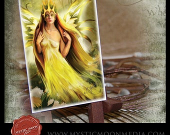 LIMITED...Summer Fairy Queen... ACEO / ATC.. Fantasy Picture...Sovereign of Summer... Dandelions... Sunshie