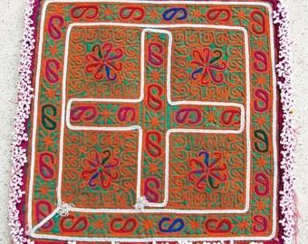 Afghanistan: Vintage Embroidered Zazi Doily, Item 134