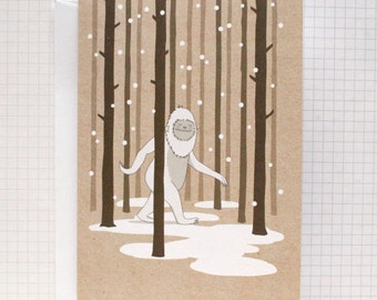 Yeti Illustrated Greeting Card - Christmas Card
