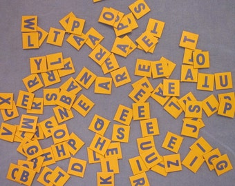 Crafting/ Scrapbooking Supplies - 100 Letter Squares - Blue and Yellow Cardboard